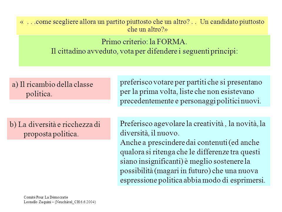 Comité Pour La Démocratie Leonello Zaquini – (Neuchâtel_CH 6.6.2004) Secondo criterio: il CONTENUTO Il cittadino avveduto, sa che i contenuti delle proposte politiche si differenziano sulla base di quattro possibilità (e non solo due: destra - sinistra) a) Democrazia - Oligarchia preferisco votare per partiti che: 1) Non detengano altri poteri che non quello conferitogli da me con il voto (poteri o legami finanziari, influenza sui media, legami con apparati o gruppi militari o paramilitari,..