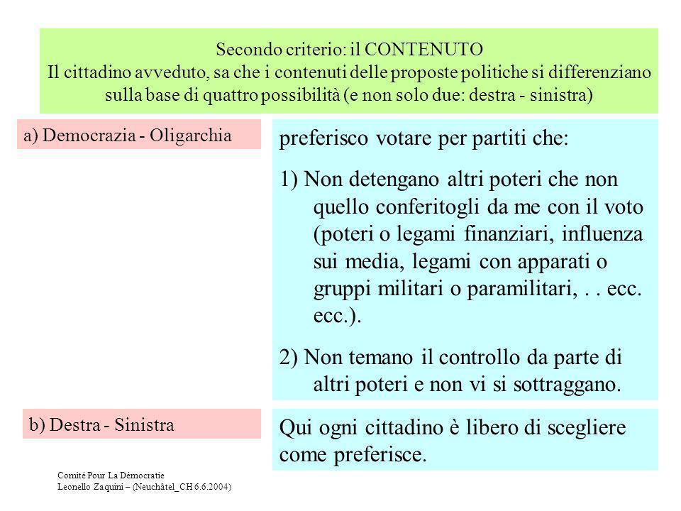 Comité Pour La Démocratie Leonello Zaquini – (Neuchâtel_CH 6.6.2004) Secondo criterio: il CONTENUTO Il cittadino avveduto, sa che i contenuti delle pr
