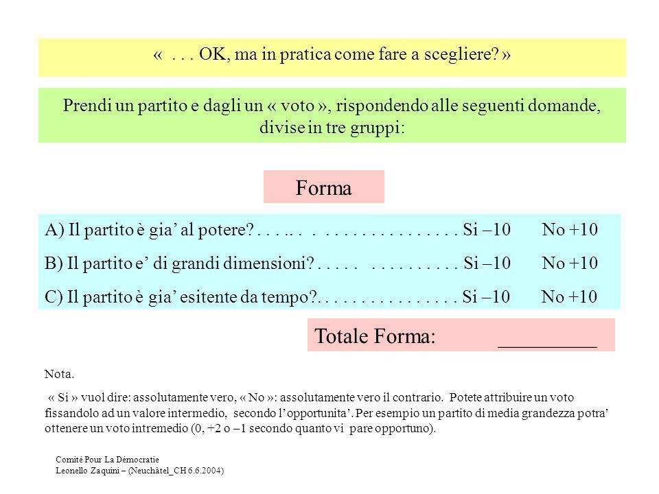 Comité Pour La Démocratie Leonello Zaquini – (Neuchâtel_CH 6.6.2004) Prendi un partito e dagli un « voto », rispondendo alle seguenti domande, divise
