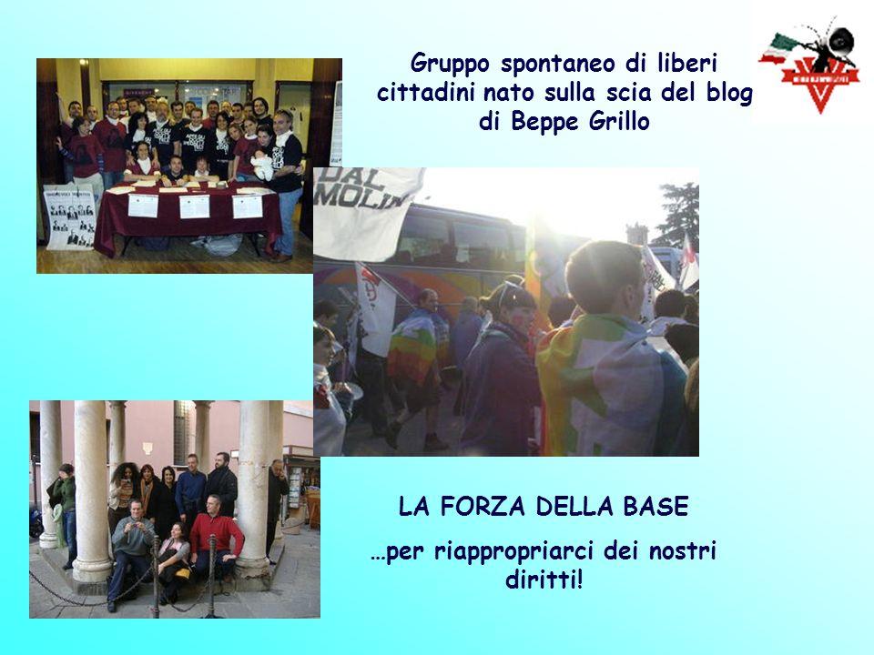 LA FORZA DELLA BASE …per riappropriarci dei nostri diritti! Gruppo spontaneo di liberi cittadini nato sulla scia del blog di Beppe Grillo