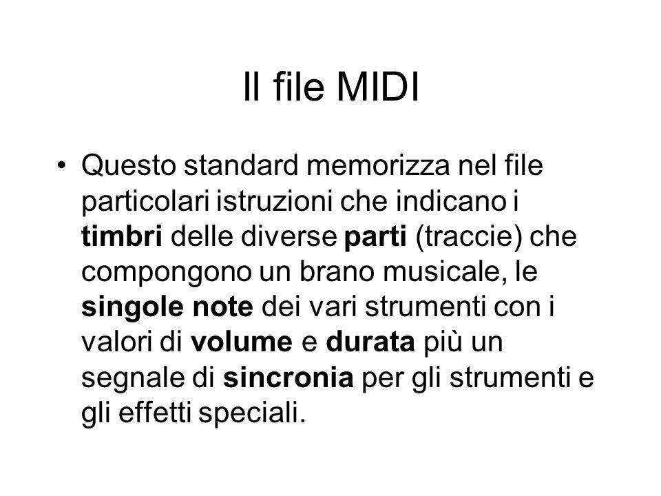 Il file MIDI Questo standard memorizza nel file particolari istruzioni che indicano i timbri delle diverse parti (traccie) che compongono un brano mus