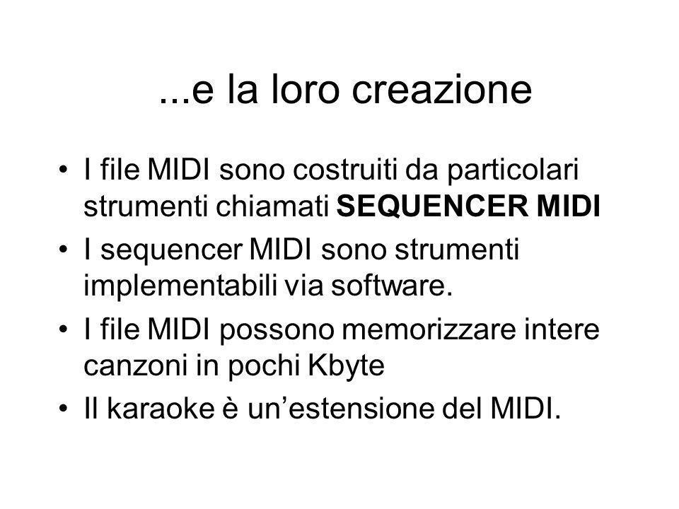 ...e la loro creazione I file MIDI sono costruiti da particolari strumenti chiamati SEQUENCER MIDI I sequencer MIDI sono strumenti implementabili via software.