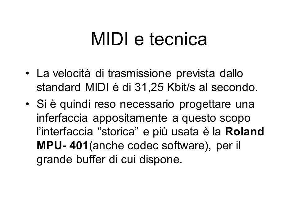 MIDI e tecnica La velocità di trasmissione prevista dallo standard MIDI è di 31,25 Kbit/s al secondo. Si è quindi reso necessario progettare una infer