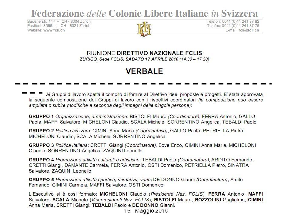 COLONIA LIBERA ITALIANA di LE LOCLE Rue Crêt-Perrelet 5 Assemblea del: 16 Maggio 2010