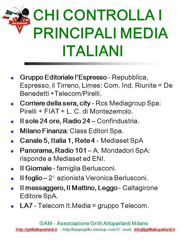 CHI CONTROLLA I PRINCIPALI MEDIA ITALIANI Gruppo Editoriale lEspresso - Repubblica, Espresso, il Tirreno, Limes: Com.