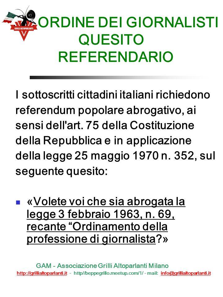 3 - ABOLIZIONE LEGGE GASPARRI Quesito referendario Un pò di storia QUESITO REFERENDARIO I sottoscritti cittadini italiani richiedono referendum popolare abrogativo, ai sensi dell art.