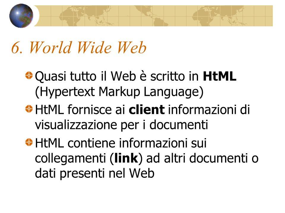 Uniform Resources Locators E possibile accedere direttamente a quasi ogni elemento di informazioni sul World Wide Web.