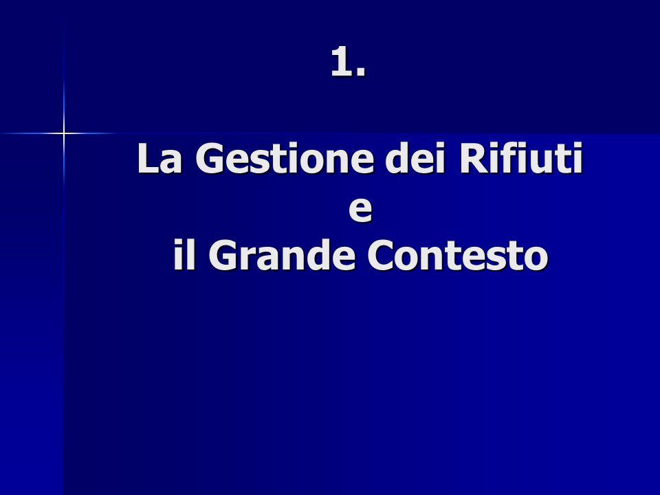 1. La Gestione dei Rifiuti e il Grande Contesto 1. La Gestione dei Rifiuti e il Grande Contesto