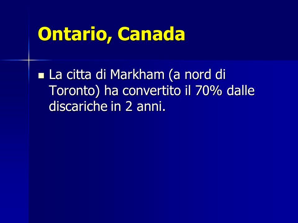 Ontario, Canada La citta di Markham (a nord di Toronto) ha convertito il 70% dalle discariche in 2 anni. La citta di Markham (a nord di Toronto) ha co
