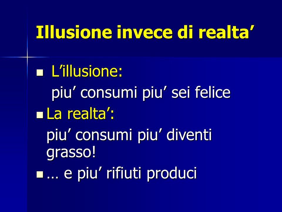 Illusione invece di realta Lillusione: Lillusione: piu consumi piu sei felice piu consumi piu sei felice La realta: La realta: piu consumi piu diventi
