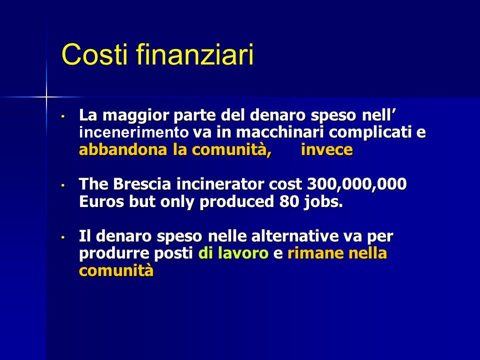 Costi finanziari La maggior parte del denaro speso nell va in macchinari complicati e abbandona la comunità, invece La maggior parte del denaro speso