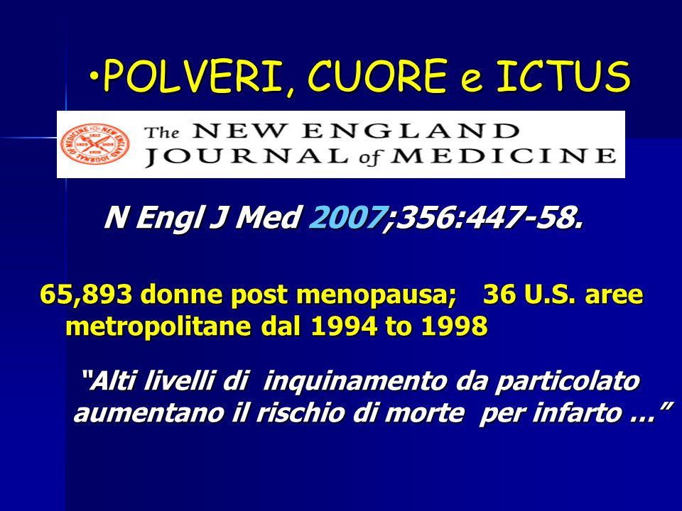 POLVERI, CUORE e ICTUSPOLVERI, CUORE e ICTUS N Engl J Med 2007;356:447-58. N Engl J Med 2007;356:447-58. 65,893 donne post menopausa; 36 U.S. aree met