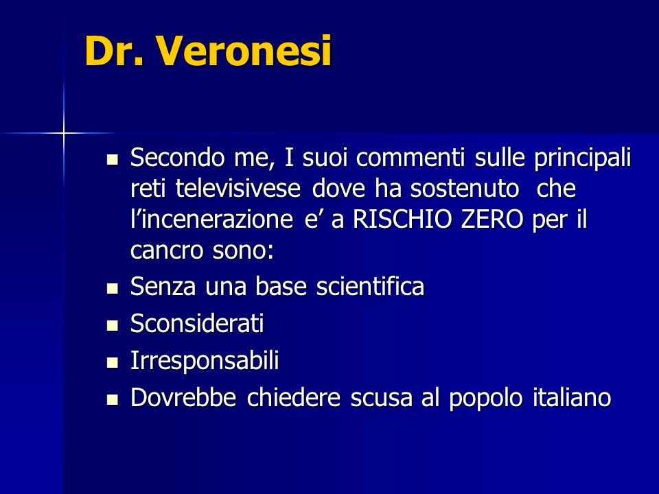 Dr. Veronesi Secondo me, I suoi commenti sulle principali reti televisivese dove ha sostenuto che lincenerazione e a RISCHIO ZERO per il cancro sono: