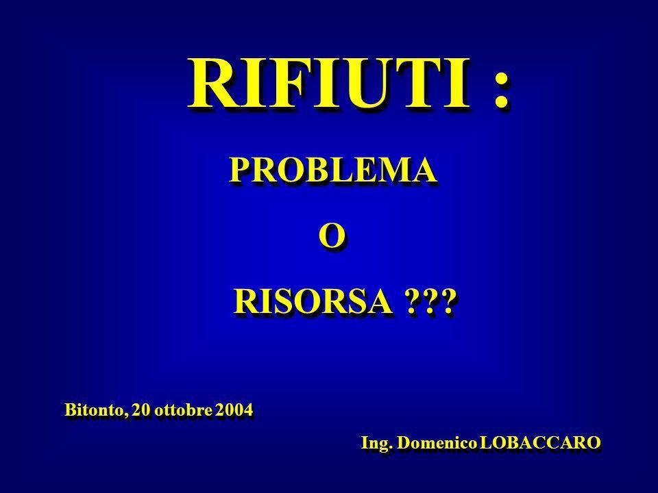 RIFIUTI : RIFIUTI :PROBLEMAO RISORSA ??? RISORSA ??? Bitonto, 20 ottobre 2004 Bitonto, 20 ottobre 2004 Ing. Domenico LOBACCARO Ing. Domenico LOBACCARO