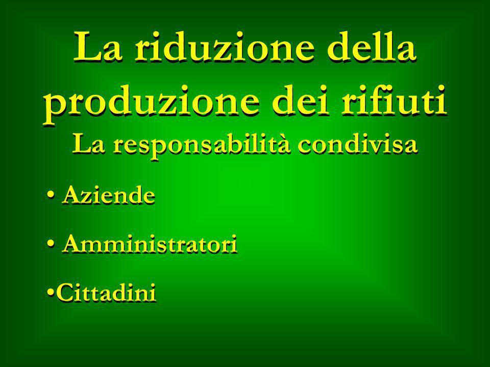 La riduzione della produzione dei rifiuti La responsabilità condivisa Aziende Amministratori Cittadini