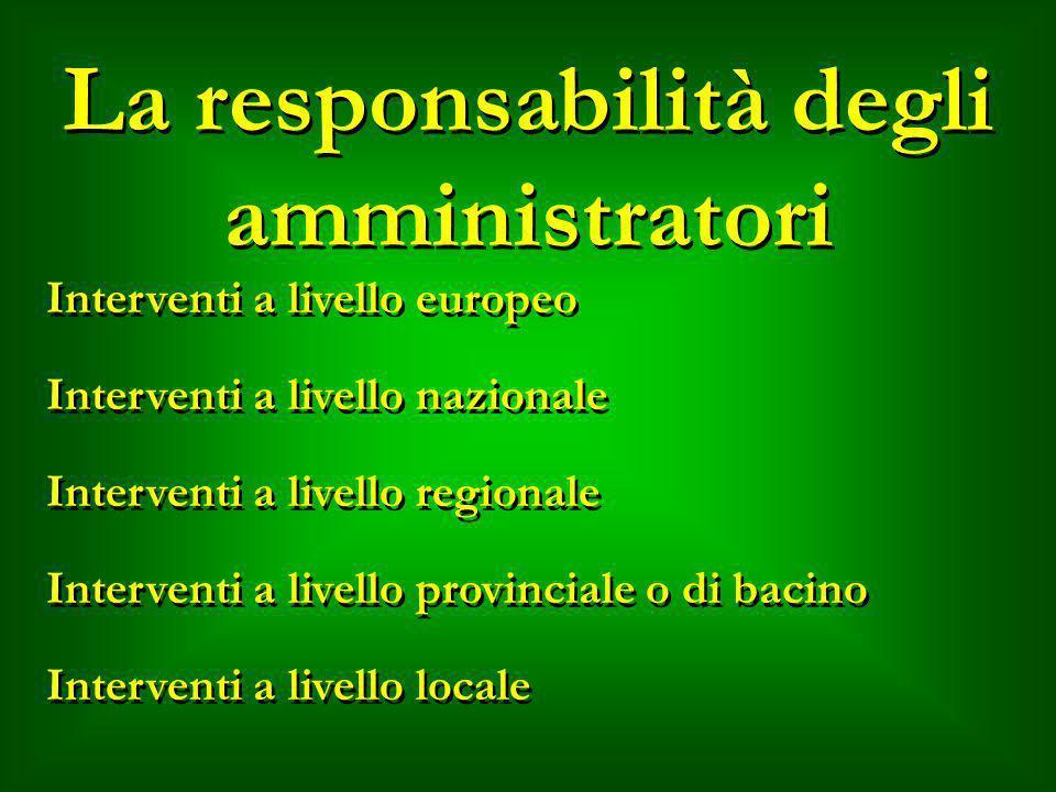 La responsabilità degli amministratori Interventi a livello europeo Interventi a livello nazionale Interventi a livello regionale Interventi a livello