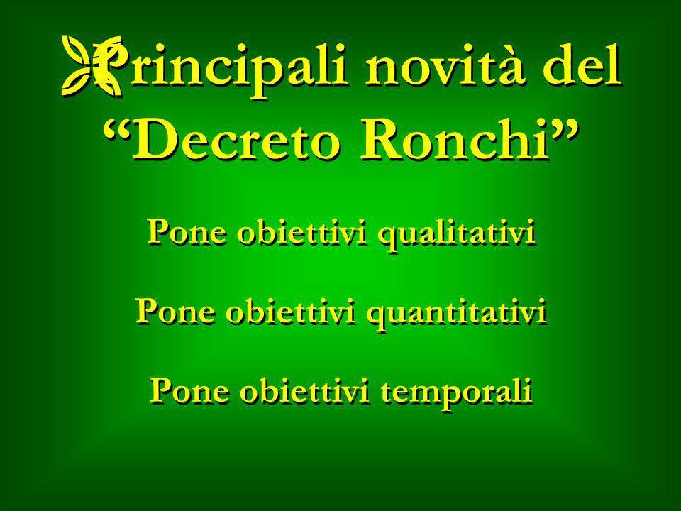 ËPrincipali novità del Decreto Ronchi Pone obiettivi qualitativi Pone obiettivi quantitativi Pone obiettivi temporali