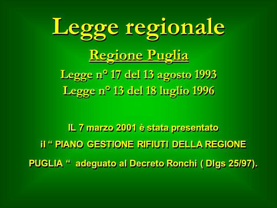Legge regionale Regione Puglia Legge n° 17 del 13 agosto 1993 Legge n° 13 del 18 luglio 1996 Legge n° 17 del 13 agosto 1993 Legge n° 13 del 18 luglio