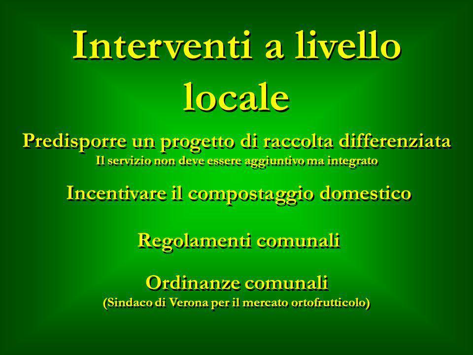 Interventi a livello locale Predisporre un progetto di raccolta differenziata Il servizio non deve essere aggiuntivo ma integrato Predisporre un proge