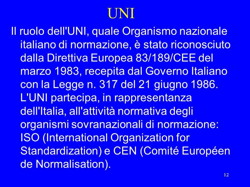 12 UNI Il ruolo dell UNI, quale Organismo nazionale italiano di normazione, è stato riconosciuto dalla Direttiva Europea 83/189/CEE del marzo 1983, recepita dal Governo Italiano con la Legge n.