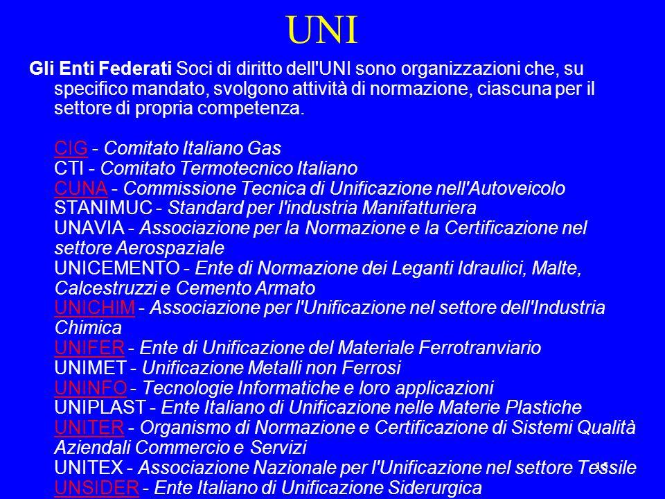 15 UNI Gli Enti Federati Soci di diritto dell UNI sono organizzazioni che, su specifico mandato, svolgono attività di normazione, ciascuna per il settore di propria competenza.
