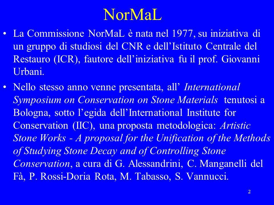 3 NorMaL Il successo incontrato da tale proposta costituì la spinta a formalizzare, da parte del CNR attraverso i Centri per le opere darte di Milano, Firenze, Roma e lIstituto per la Conservazione dei Monumenti, e dellICR da parte del Ministero per i Beni Culturali, listituzione della Commissione precedentemente citata.