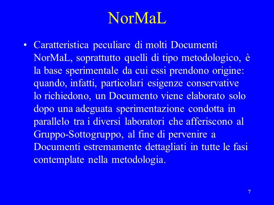 8 NorMaL A tuttoggi sono stati pubblicati 44 Documenti NorMaL (non includendo nel numero gli aggiornamenti).