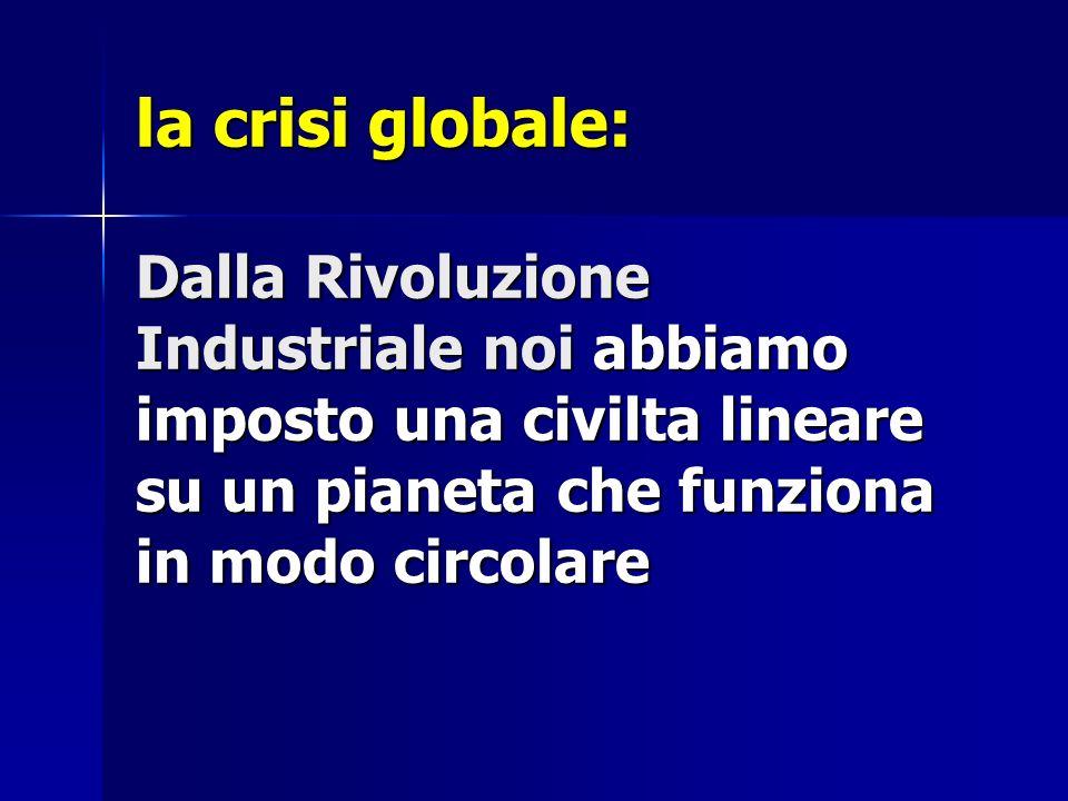 la crisi globale: Dalla Rivoluzione Industriale noi abbiamo imposto una civilta lineare su un pianeta che funziona in modo circolare