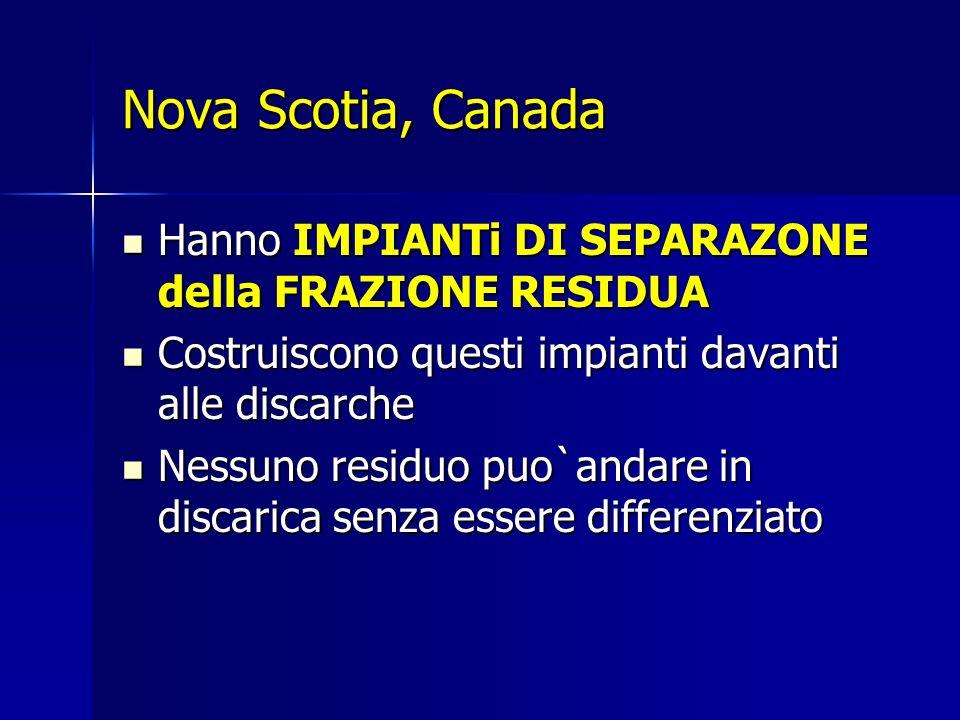 Nova Scotia, Canada Hanno IMPIANTi DI SEPARAZONE della FRAZIONE RESIDUA Hanno IMPIANTi DI SEPARAZONE della FRAZIONE RESIDUA Costruiscono questi impianti davanti alle discarche Costruiscono questi impianti davanti alle discarche Nessuno residuo puo`andare in discarica senza essere differenziato Nessuno residuo puo`andare in discarica senza essere differenziato