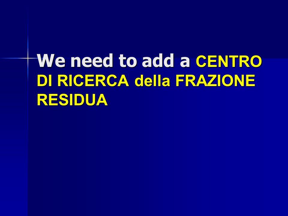 We need to add a CENTRO DI RICERCA della FRAZIONE RESIDUA