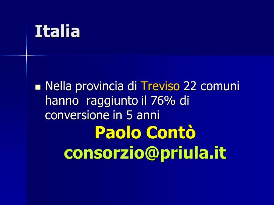 Italia Nella provincia di Treviso 22 comuni hanno raggiunto il 76% di conversione in 5 anni Nella provincia di Treviso 22 comuni hanno raggiunto il 76% di conversione in 5 anni Paolo Contò consorzio@priula.it