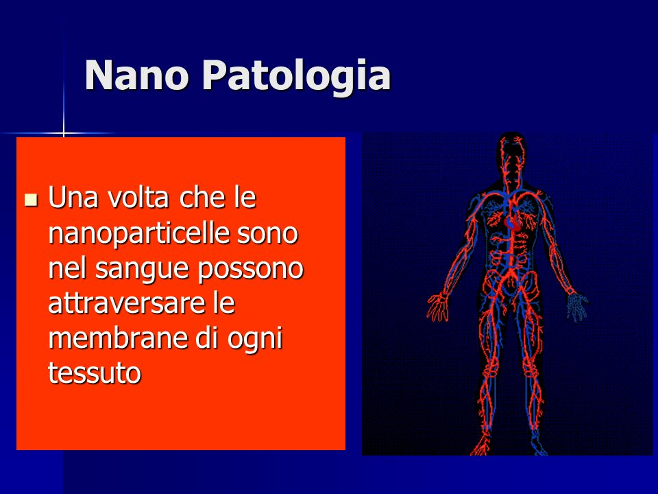 Nano Patologia Una volta che le nanoparticelle sono nel sangue possono attraversare le membrane di ogni tessuto Una volta che le nanoparticelle sono nel sangue possono attraversare le membrane di ogni tessuto