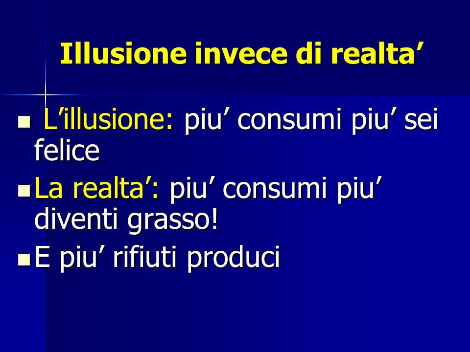 Illusione invece di realta Lillusione: piu consumi piu sei felice Lillusione: piu consumi piu sei felice La realta: piu consumi piu diventi grasso.