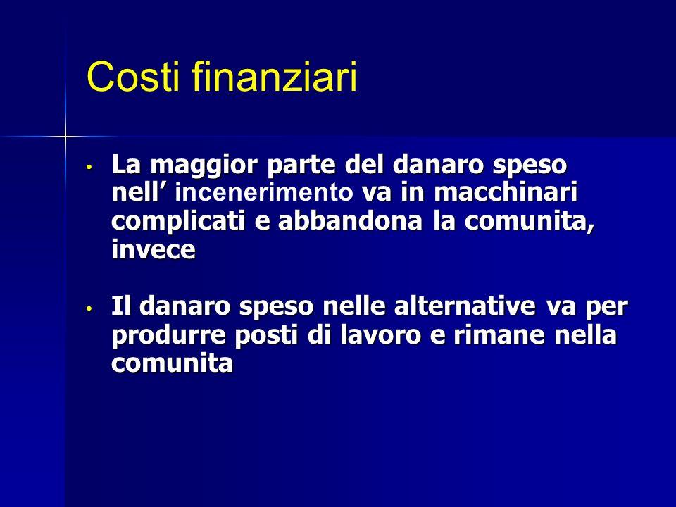 Costi finanziari La maggior parte del danaro speso nell va in macchinari complicati e abbandona la comunita, invece La maggior parte del danaro speso