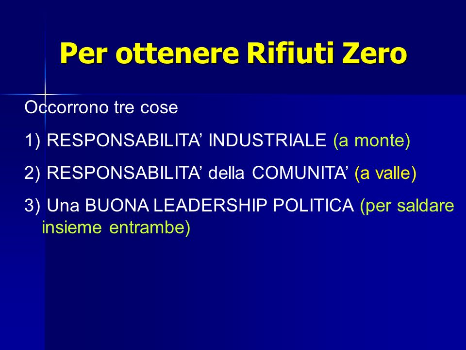 Per ottenere Rifiuti Zero Occorrono tre cose 1) 1) RESPONSABILITA INDUSTRIALE (a monte) 2) 2) RESPONSABILITA della COMUNITA (a valle) 3) Una BUONA LEADERSHIP POLITICA (per saldare insieme entrambe)