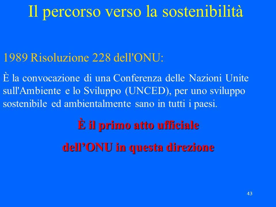 43 Il percorso verso la sostenibilità 1989 Risoluzione 228 dell ONU: È la convocazione di una Conferenza delle Nazioni Unite sull Ambiente e lo Sviluppo (UNCED), per uno sviluppo sostenibile ed ambientalmente sano in tutti i paesi.