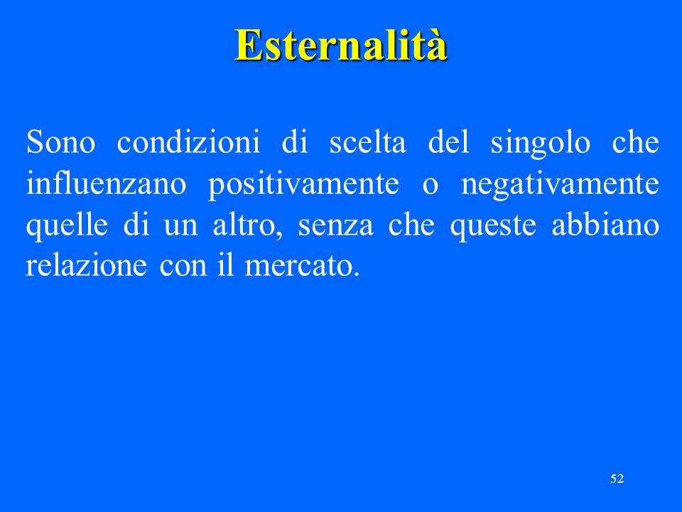 52Esternalità Sono condizioni di scelta del singolo che influenzano positivamente o negativamente quelle di un altro, senza che queste abbiano relazione con il mercato.