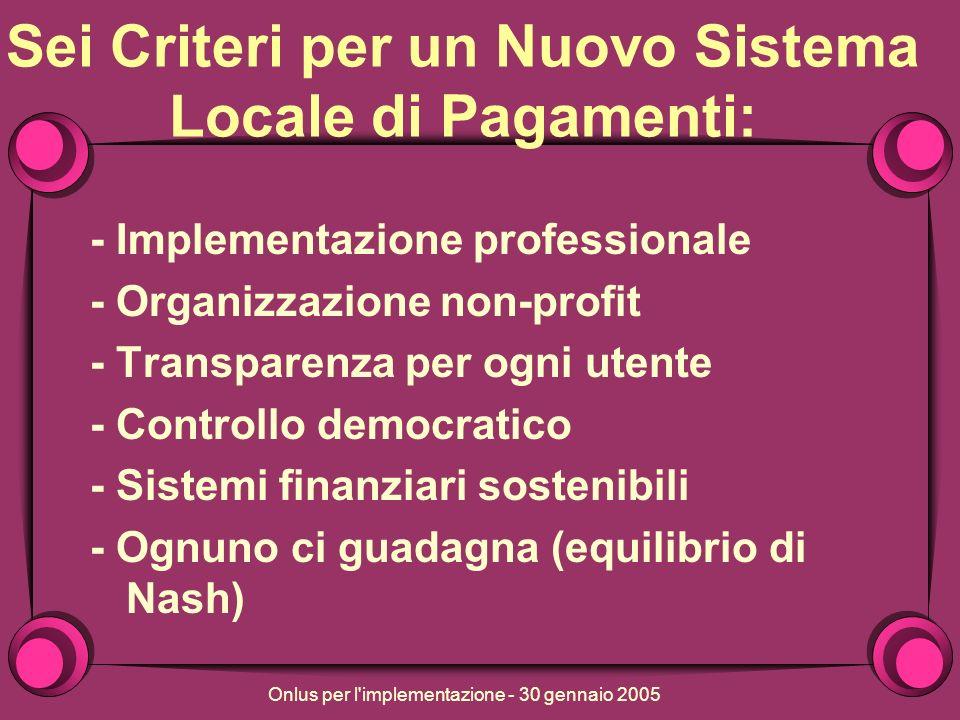 Onlus per l implementazione - 30 gennaio 2005 Sei Criteri per un Nuovo Sistema Locale di Pagamenti: - Implementazione professionale - Organizzazione non-profit - Transparenza per ogni utente - Controllo democratico - Sistemi finanziari sostenibili - Ognuno ci guadagna (equilibrio di Nash)