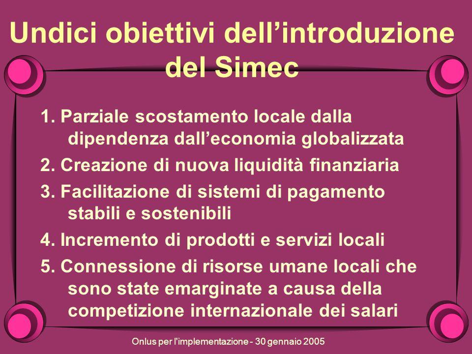 Onlus per l implementazione - 30 gennaio 2005 Undici obiettivi dellintroduzione del Simec 1.