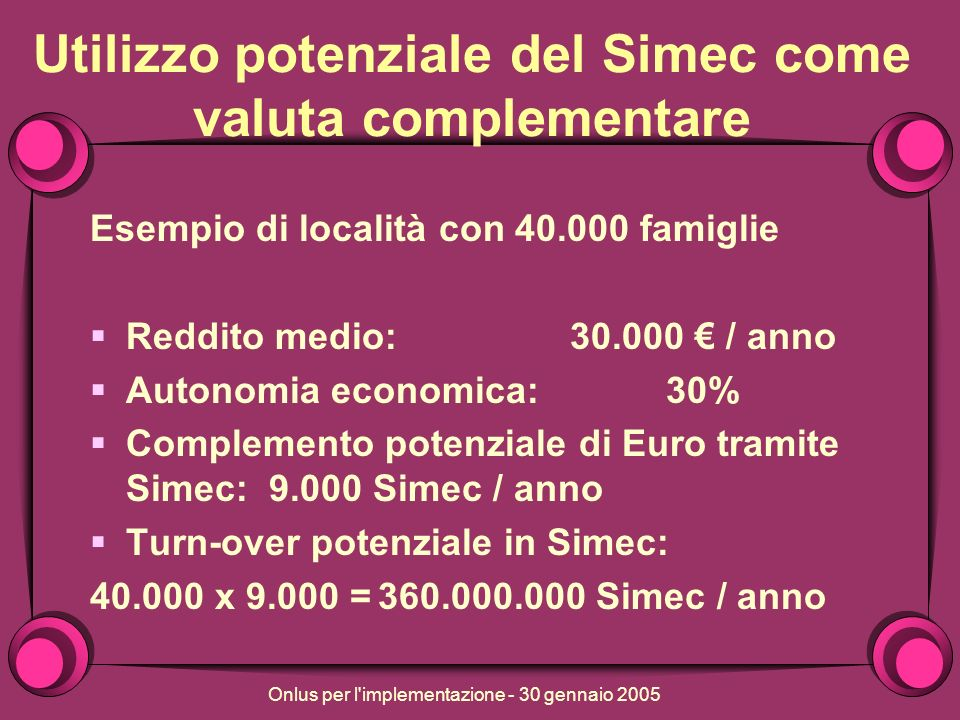 Onlus per l implementazione - 30 gennaio 2005 Utilizzo potenziale del Simec come valuta complementare Esempio di località con 40.000 famiglie Reddito medio:30.000 / anno Autonomia economica: 30% Complemento potenziale di Euro tramite Simec: 9.000 Simec / anno Turn-over potenziale in Simec: 40.000 x 9.000 =360.000.000 Simec / anno