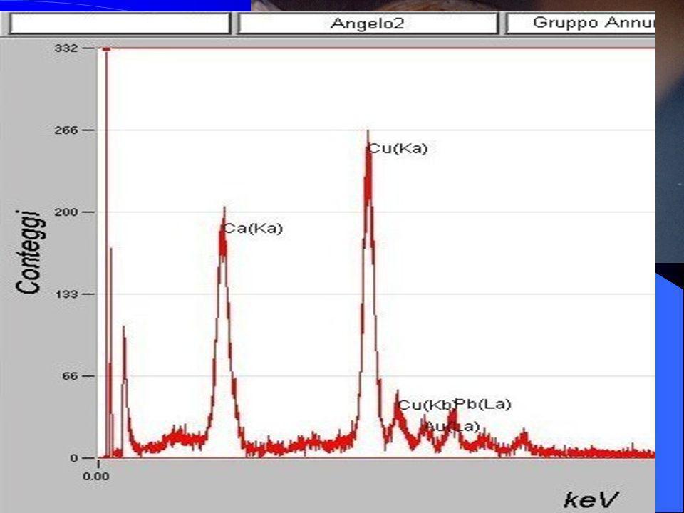 XRF portatile Spettro tipo di alcune indagini eseguite su diversi punti della superficie decorata dei capelli dellangelo. Gli elementi riscontrati son