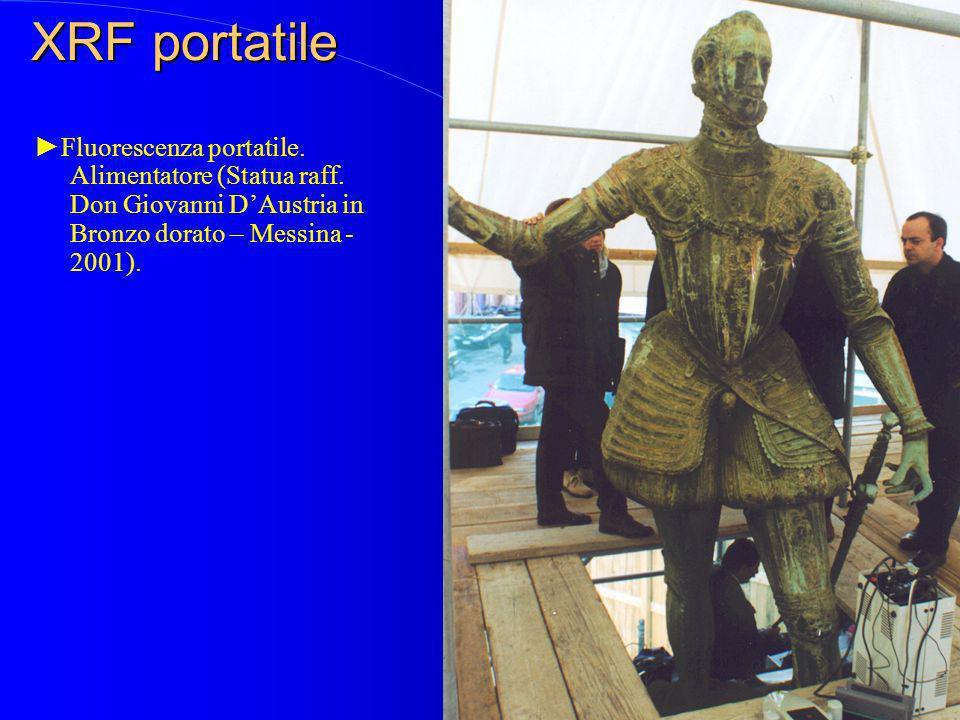Fluorescenza portatile. Alimentatore (Statua raff. Don Giovanni DAustria in Bronzo dorato – Messina - 2001).
