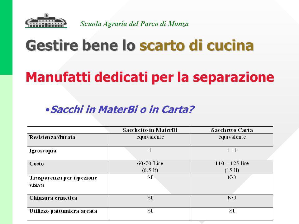 Scuola Agraria del Parco di Monza Manufatti dedicati per la separazione Sacchi in MaterBi o in Carta? Gestire bene lo scarto di cucina