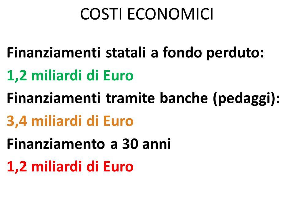 COSTI ECONOMICI Finanziamenti statali a fondo perduto: 1,2 miliardi di Euro Finanziamenti tramite banche (pedaggi): 3,4 miliardi di Euro Finanziamento