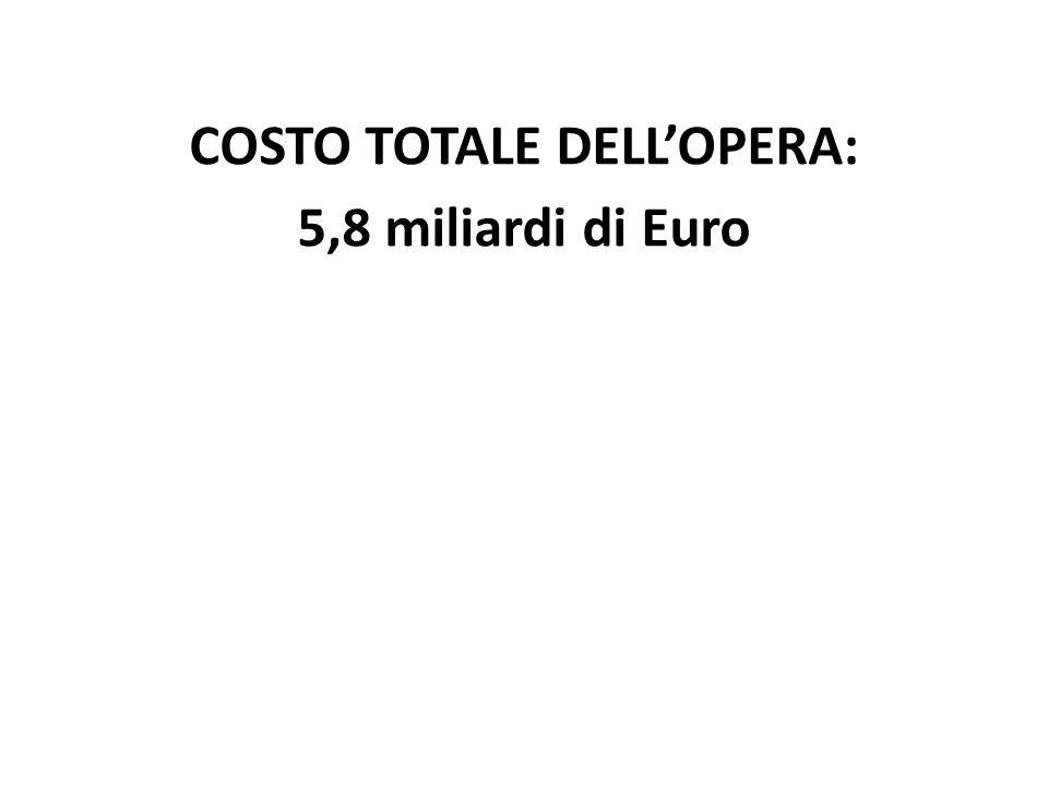 COSTO TOTALE DELLOPERA: 5,8 miliardi di Euro