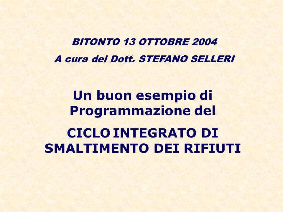 Un buon esempio di Programmazione del CICLO INTEGRATO DI SMALTIMENTO DEI RIFIUTI BITONTO 13 OTTOBRE 2004 A cura del Dott. STEFANO SELLERI