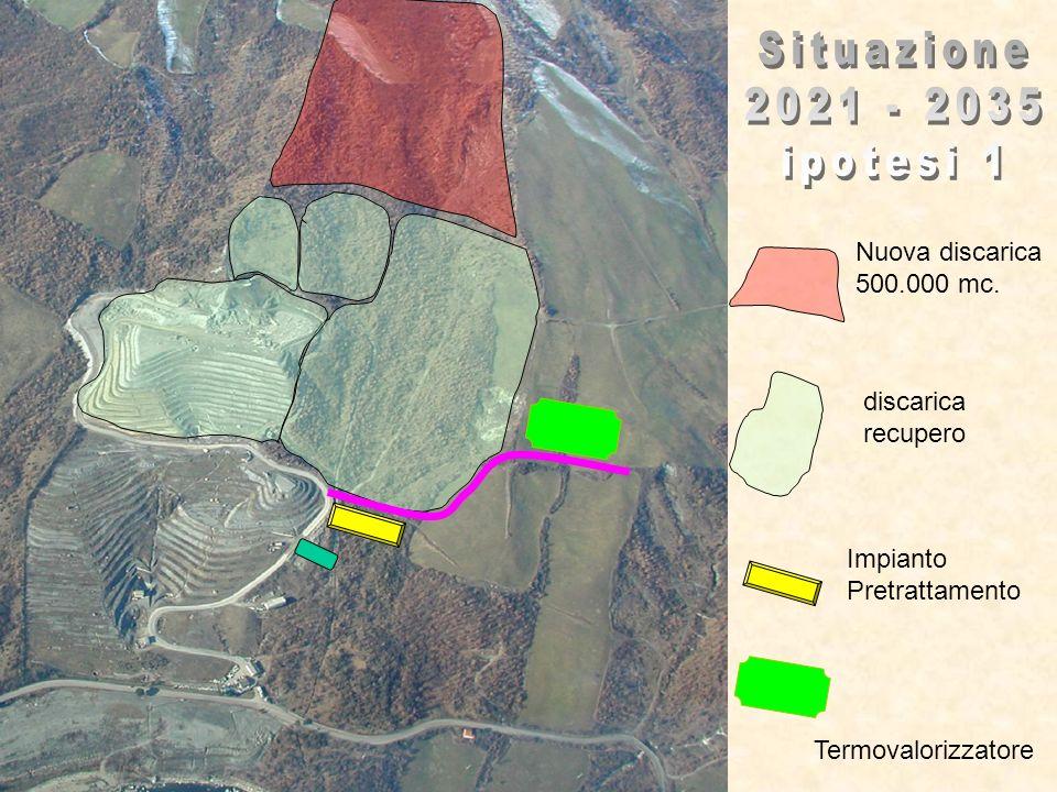 discarica recupero Impianto Pretrattamento Termovalorizzatore Nuova discarica 500.000 mc.