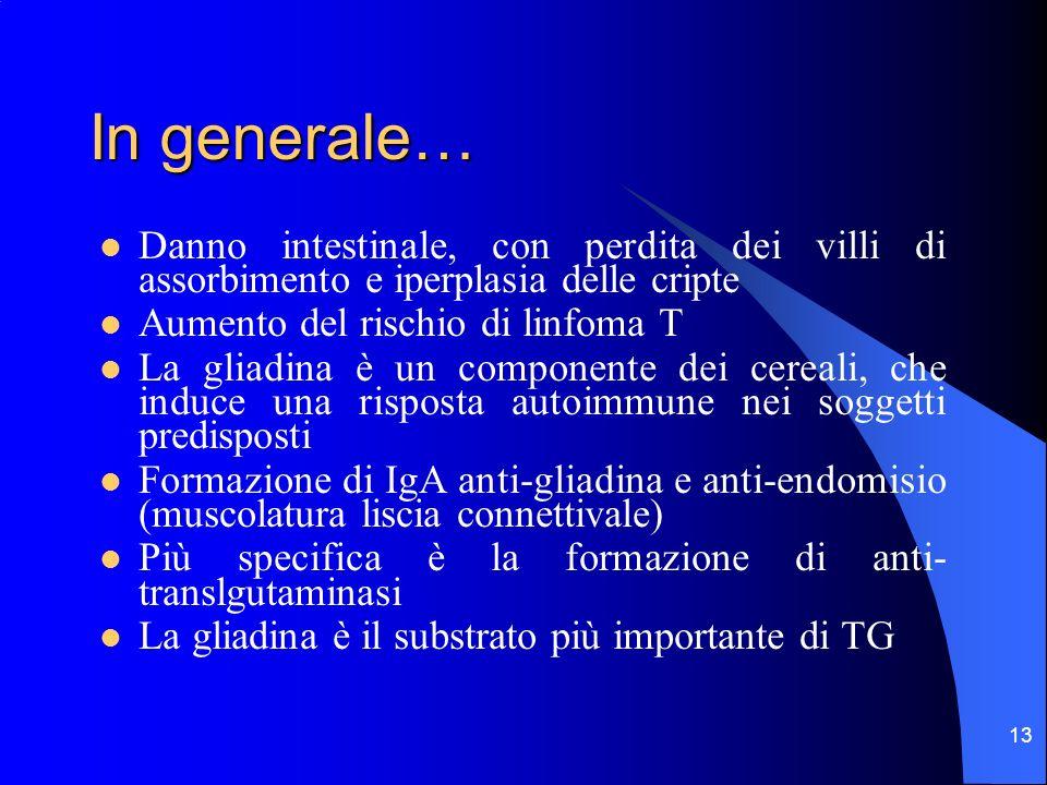13 In generale… Danno intestinale, con perdita dei villi di assorbimento e iperplasia delle cripte Aumento del rischio di linfoma T La gliadina è un c