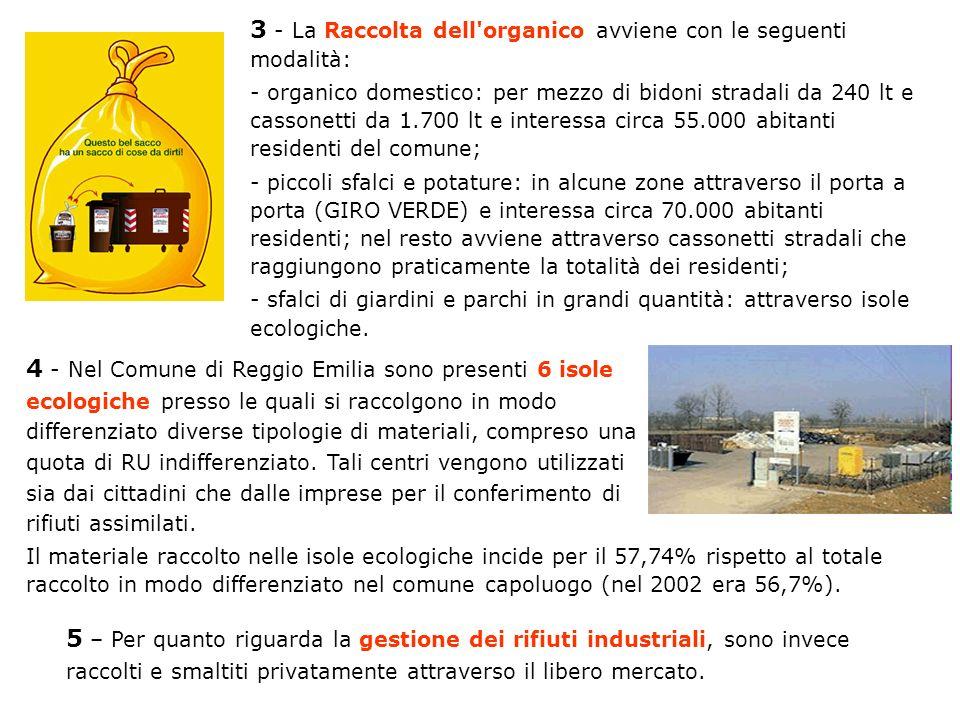 3 - La Raccolta dell'organico avviene con le seguenti modalità: - organico domestico: per mezzo di bidoni stradali da 240 lt e cassonetti da 1.700 lt