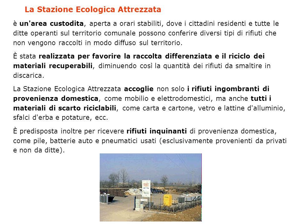 La Stazione Ecologica Attrezzata è un'area custodita, aperta a orari stabiliti, dove i cittadini residenti e tutte le ditte operanti sul territorio co